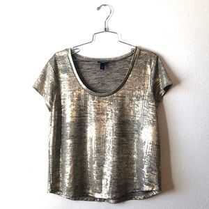 Mossimo gold and black metallic crackled T-shirt